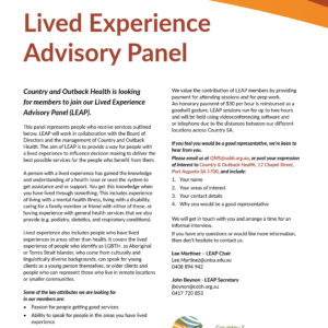 Lived Experience Advisory Panel