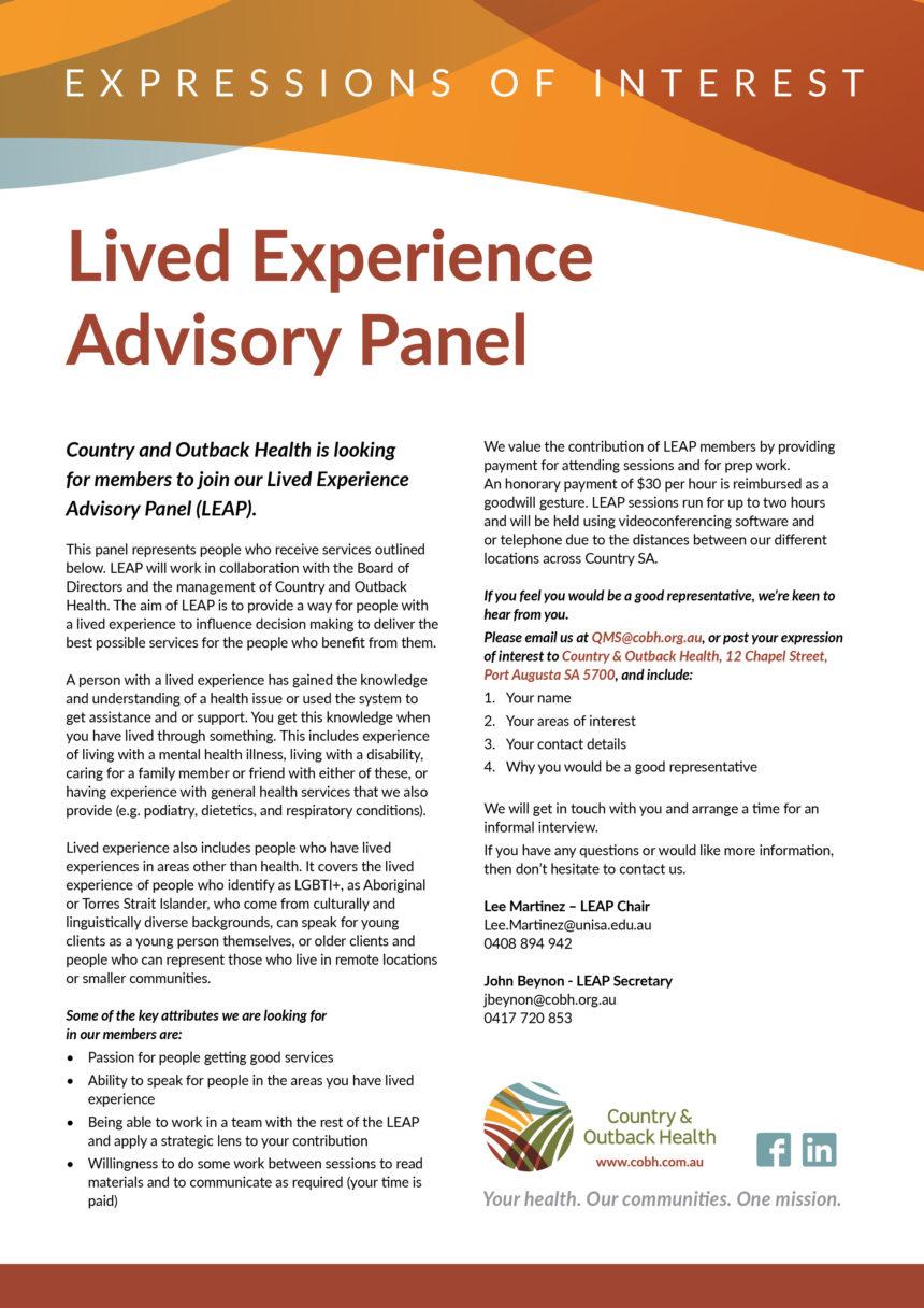 Lived Experience Advisory Panel